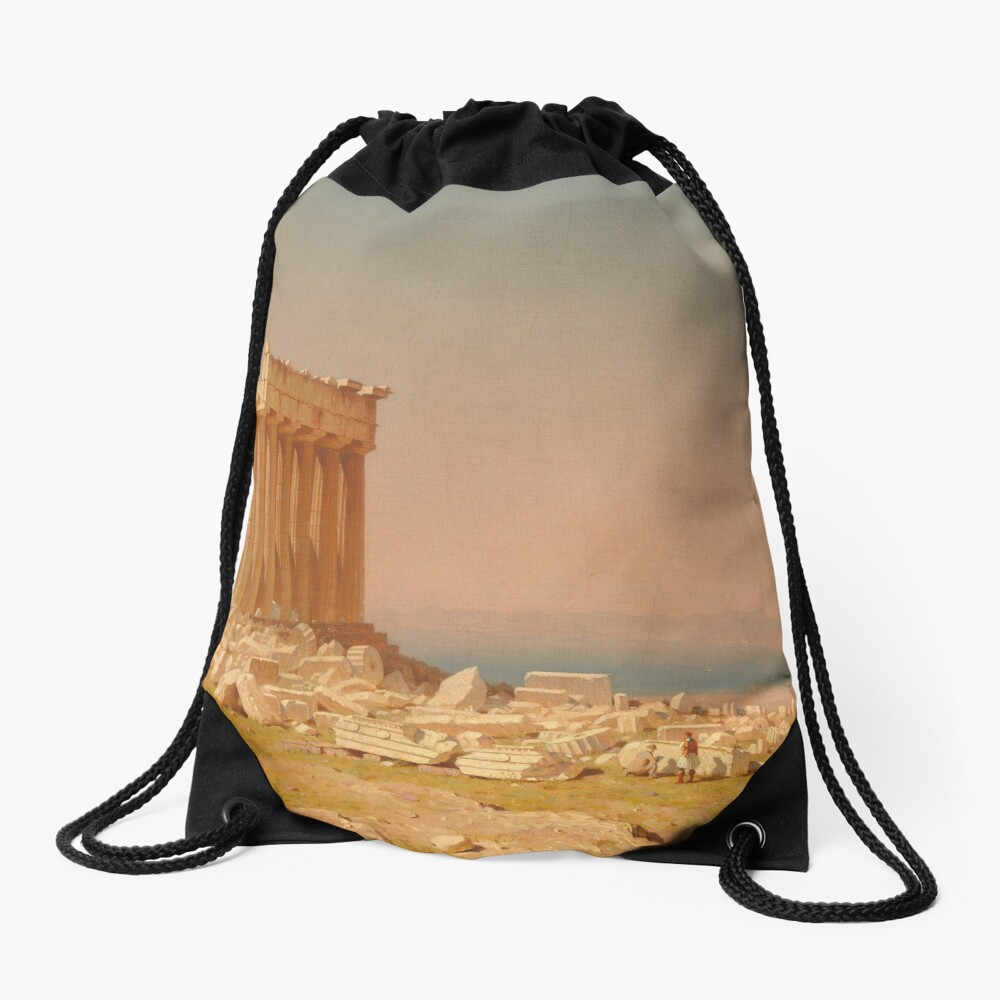 Ruins of the Parthenon Oil Painting by Sanford Robinson Gifford Drawstring Bag