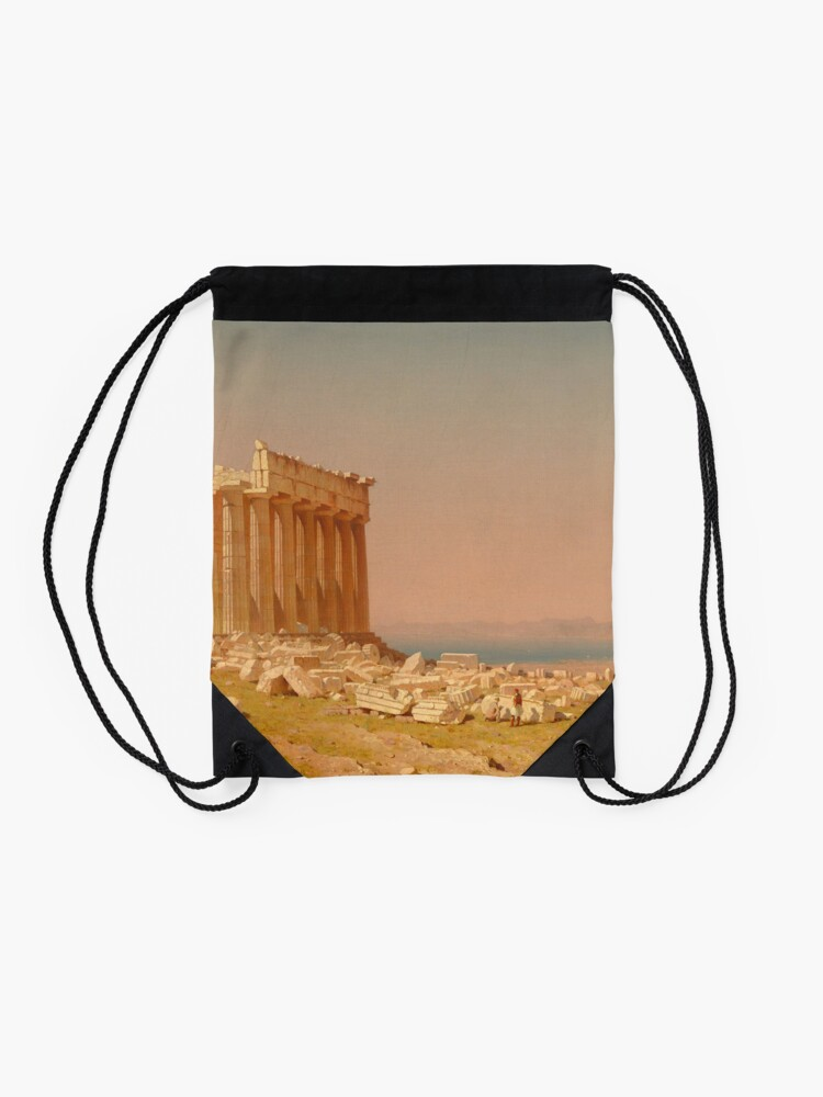 Alternate view of Ruins of the Parthenon Oil Painting by Sanford Robinson Gifford Drawstring Bag