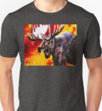 I'm No Bambi Bull Moose Powerful Majestic Wildlife Rack Point Cabin Elk Red Yellow Fire Power Strong Nature Hunting Hunt Sportsman Hunter Rocky Mountains Unisex T-Shirt