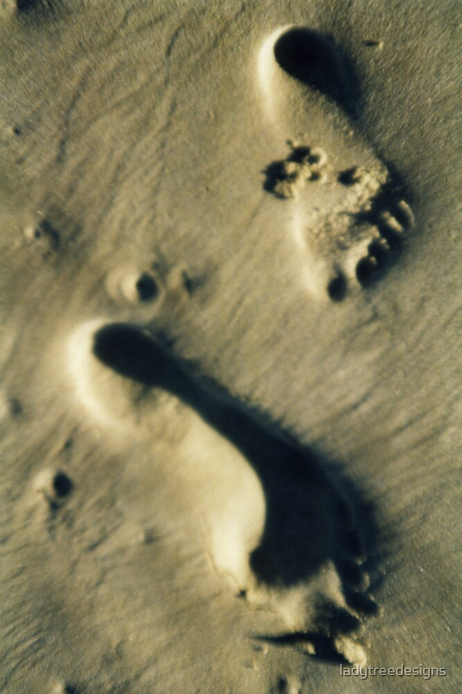 footprints in the sand by ladytreedesigns