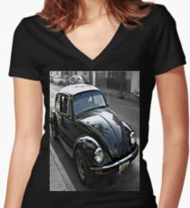Black VW 1 Stretched Side View Women's Fitted V-Neck T-Shirt