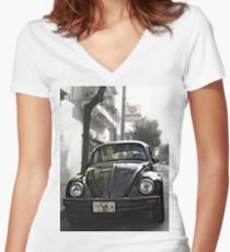 Black VW Bug  - Front View Women's Fitted V-Neck T-Shirt