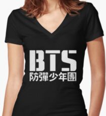 BTS Bangtan Boys Logo/Text 2 Women's Fitted V-Neck T-Shirt
