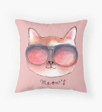 Cat wearing Rosy Glasses Throw Pillow
