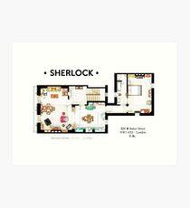 Floorplan of Sherlock Holmes apartment from BBCs Art Print