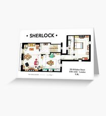 Floorplan of Sherlock Holmes apartment from BBCs Greeting Card