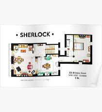 Floorplan of Sherlock Holmes apartment from BBCs Poster