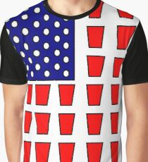 US Flag Beer Pong Drinking Game Graphic T-Shirt