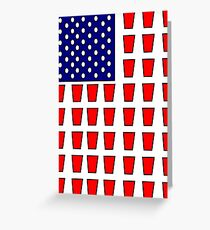 US Flag Beer Pong Drinking Game Greeting Card