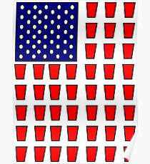 US Flag Beer Pong Drinking Game Poster