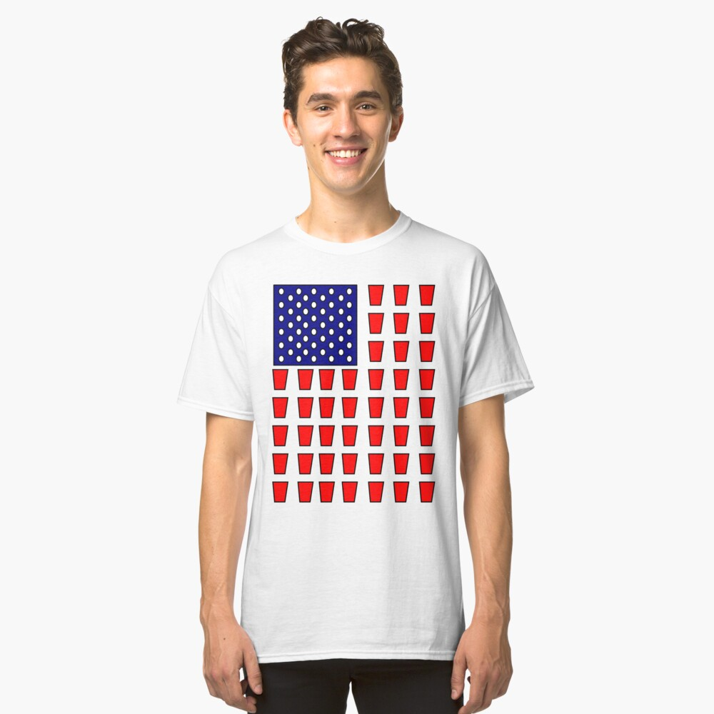 US Flag Beer Pong Drinking Game Classic T-Shirt Front