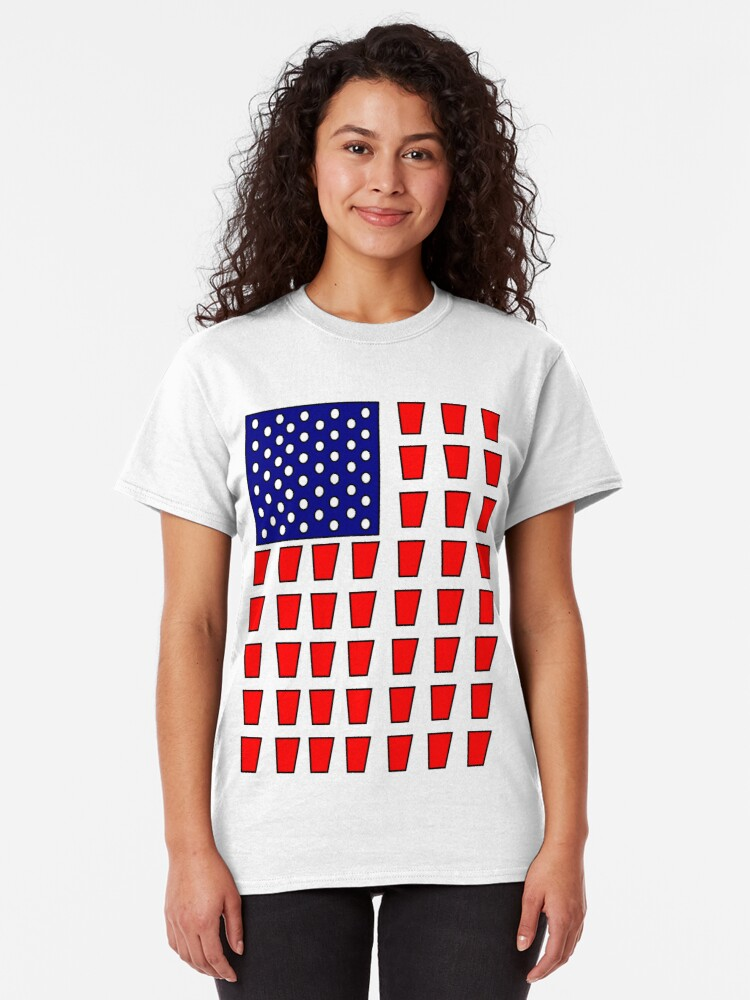Alternate view of US Flag Beer Pong Drinking Game Classic T-Shirt