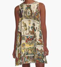 Tarot-Karten-Muster A-Linien Kleid