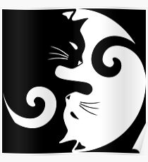 Ying Yang Cats - Black and white Poster