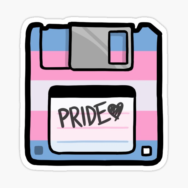 Trans Pride Floppy Disk Sticker