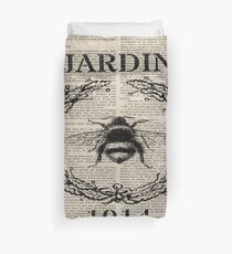 newspaper print french country paris vintage bee Duvet Cover