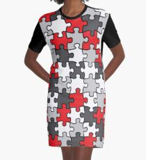 Puzzle Pattern Graphic T-Shirt Dress