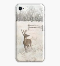 Snowy Deer Scene iPhone Case/Skin