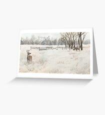 Snowy Deer Scene Greeting Card