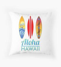 Aloha Hawaii Surfboards Throw Pillow