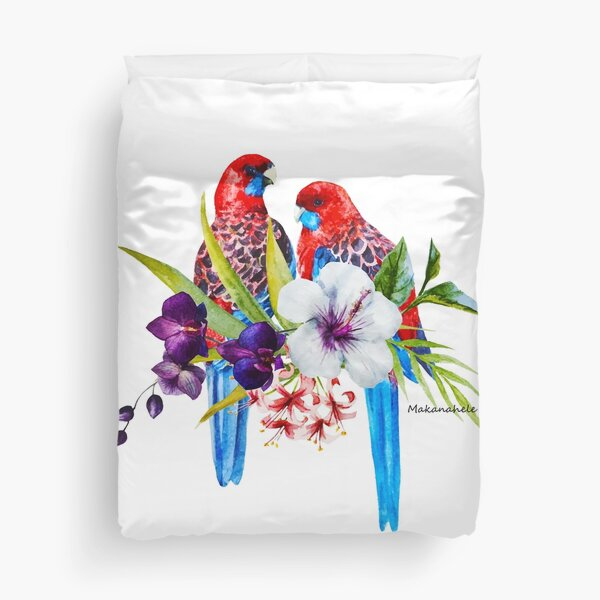 Beautiful Watercolor Australian Rosellas Duvet Cover