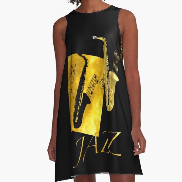 JAZZ Saxophone Tshirt Gold  A-Line Dress