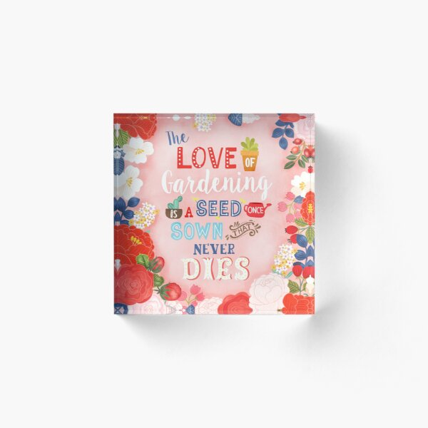 Rose Garden Hand Lettering & Illustration Acrylic Block
