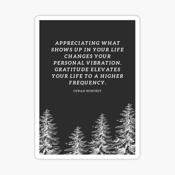 Oprah Winfrey Gratitude Quote Sticker