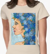 """""""Lucia"""" by Romantz, Blue flower girl, lady, woman Womens Fitted T-Shirt"""