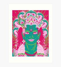 Vishnu in pink and green Art Print