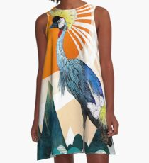 Crowned Crane A-Line Dress