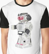 Robot Toy Silver and Red Vector Art Graphic T-Shirt