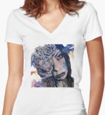 Of Blue Suffering (gothic lady with roses tattoo) Women's Fitted V-Neck T-Shirt