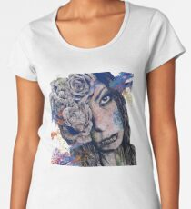 Of Blue Suffering (gothic lady with roses tattoo) Women's Premium T-Shirt