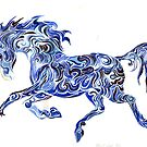 blue wave horse by Christiane C. Wolff