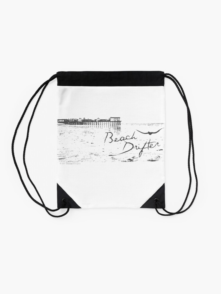 Alternate view of Beach Drifter Old Orchard Pier Drawstring Bag