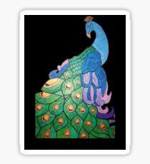 Peacock over black background Sticker