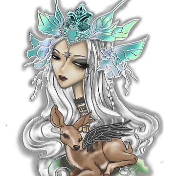 Fairy Siren with Fawn by rainbowise