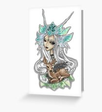 Fairy Siren with Fawn  Greeting Card