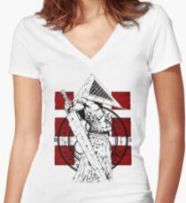 Pyramid Head Tribute Women's Fitted V-Neck T-Shirt