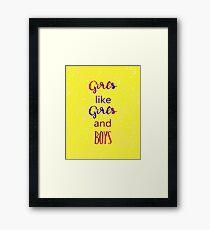 Girls Girls Boys Framed Print