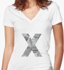 Zentangle X Women's Fitted V-Neck T-Shirt