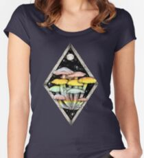 Rainbow Mushrooms || Psychedelic Illustration by Chrysta Kay Women's Fitted Scoop T-Shirt