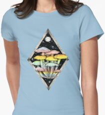 Rainbow Mushrooms    Psychedelic Illustration by Chrysta Kay Womens Fitted T-Shirt