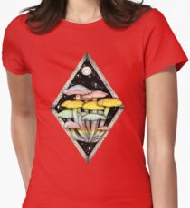 Rainbow Mushrooms || Psychedelic Illustration by Chrysta Kay Womens Fitted T-Shirt