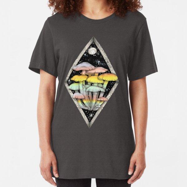 Rainbow Mushrooms    Psychedelic Illustration by Chrysta Kay Slim Fit T-Shirt