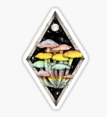 Rainbow Mushrooms || Psychedelic Illustration by Chrysta Kay Sticker