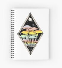Rainbow Mushrooms || Psychedelic Illustration by Chrysta Kay Spiral Notebook