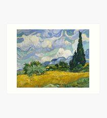 Wheat Field with Cypress Trees by Van Gogh Art Print