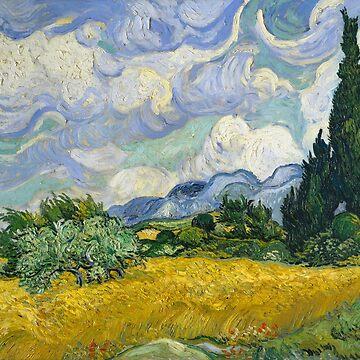 Wheat Field with Cypress Trees by Van Gogh by vintageemporium